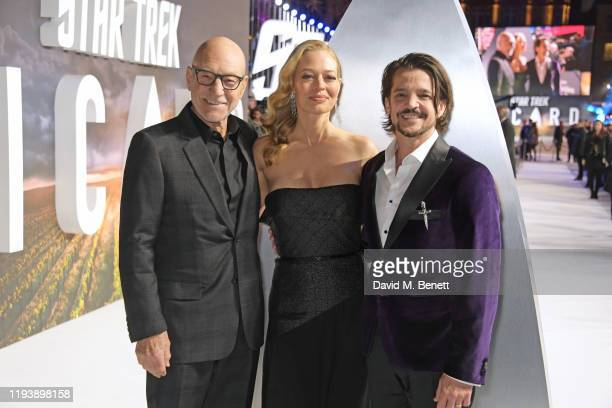 Sir Patrick Stewart Jeri Ryan and Jonathan Del Arco attend the European Premiere of Amazon Original Star Trek Picard at Odeon Luxe Leicester Square...