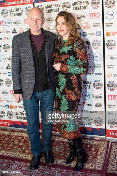 Sir Patrick Stewart OBE and Sunny Ozell attend the UK Americana Awards 2019 held at Hackney Empire on January 31, 2019 in London, England.
