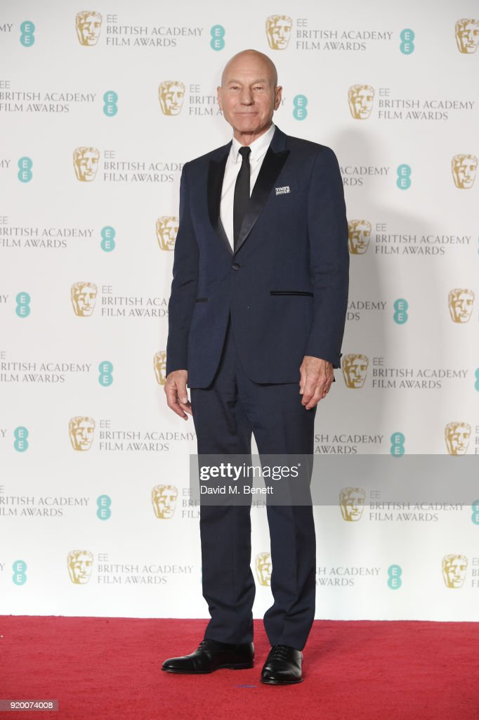 Sir Patrick Stewart poses in the press room during the EE British Academy Film Awards (BAFTA) held at Royal Albert Hall on February 18, 2018 in London, England.