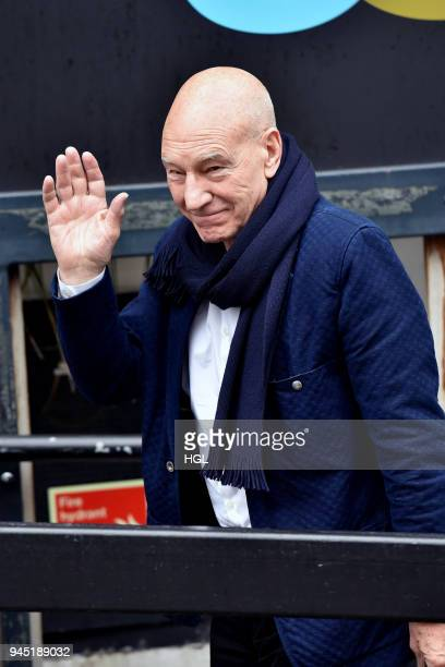 Sir Patrick Stewart seen at the ITV Studios on April 12 2018 in London England
