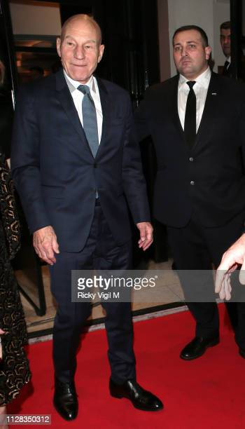 Sir Patrick Stewart seen attending the BAFTA Film Gala at the The Savoy Hotel ahead of the EE British Academy Film Awards on February 08 2019 in...