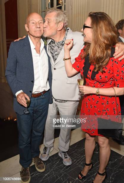 Sir Patrick Stewart Sir Ian McKellen and Sunny Ozell attend the press night after party for 'King Lear' at No11 Carlton House Terrace on July 26 2018...