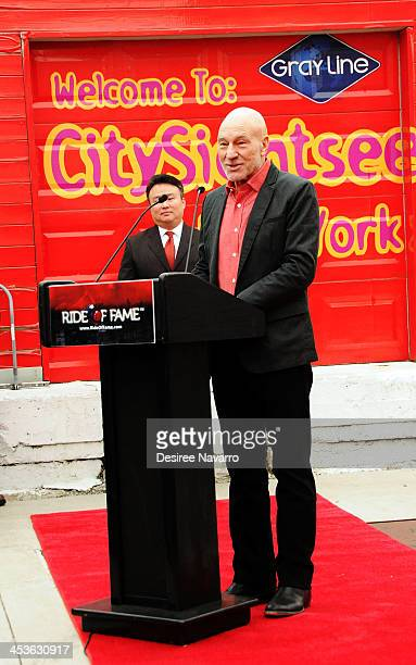 """Sir Patrick Stewart speaks at the Gray Line NYC """"Ride Of Fame"""" induction ceremony for Patrick Stewart at Pier 78 on December 4, 2013 in New York City."""
