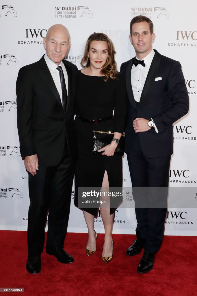 Sir Patrick Stewart, Sunny Ozell and IWC Schaffhausen CEO Christoph Grainger-Herr attend the sixth IWC Filmmaker Award gala dinner at the 14th Dubai International Film Festival (DIFF), during which Swiss luxury watch manufacturer IWC Schaffhausen celebrated its long-standing passion for filmmaking at One And Only Royal Mirage on December 7, 2017 in Dubai, United Arab Emirates.