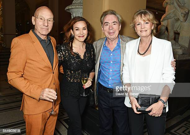 Sir Patrick Stewart, Sunny Ozell, Lord Andrew Lloyd Webber and Lady Madeleine Lloyd Webber attend the Olivier Awards Summer Party in celebration of...