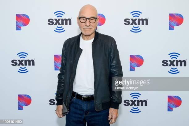 Sir Patrick Stewart visits the SiriusXM Hollywood Studio at SiriusXM Hollywood Studio on February 13, 2020 in Los Angeles, California.