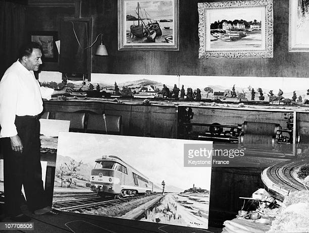 Sir Paul Arzens Creator Of Locomotives Bb And Cc For The Sncf In His Paris Apartment On June 10Th 1964