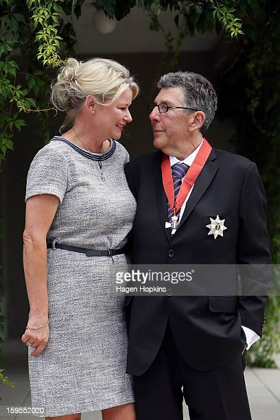 Sir Paul Holmes poses with wife Lady Deborah after receiving a Knighthood from GovernorGeneral Sir Jerry Mateparae in recognition of his services to...
