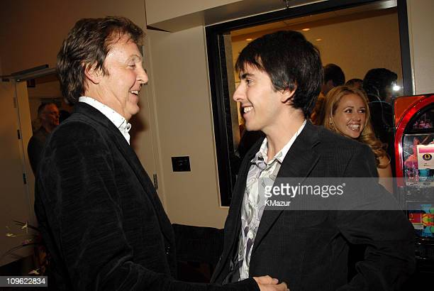 """Sir Paul McCartney and Dhani Harrison during """"LOVE"""": Cirque du Soleil Celebrates the Musical Legacy of The Beatles - Backstage at The Mirage Hotel..."""