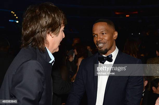 Sir Paul McCartney and Jamie Foxx attend the 56th GRAMMY Awards at Staples Center on January 26 2014 in Los Angeles California