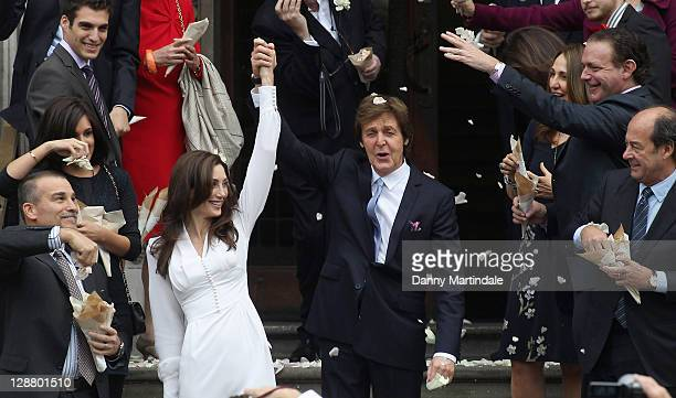Sir Paul McCartney and Nancy Shevell after their wedding at Marylebone Registry Office on October 9 2011 in London England