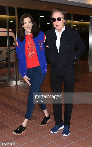 Sir Paul McCartney and Nancy Shevell are seen upon arrival at Haneda Airport on April 23 2017 in Tokyo Japan