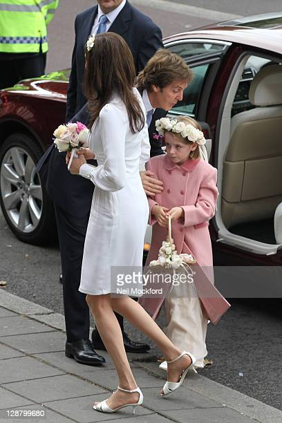 Sir Paul McCartney and Nancy Shevell arrive for their wedding at Marylebone Registry Office on October 9 2011 in London England
