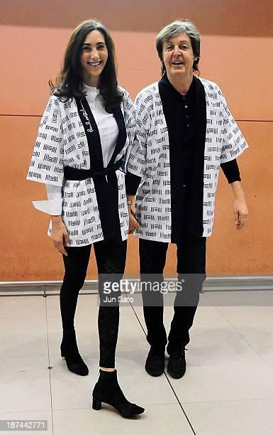 Sir Paul McCartney and Nancy Shevell together arrive at Kansai International Airport on November 9 2013 in Izumisano Japan