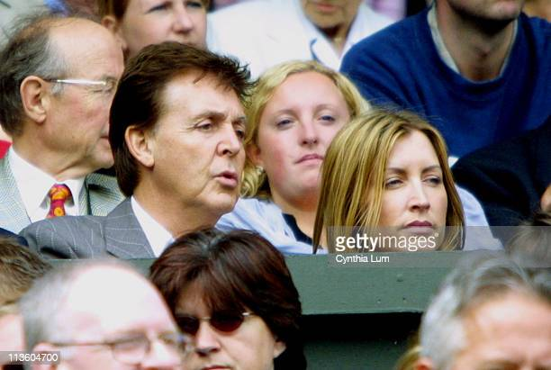 Sir Paul McCartney and wife Heather Mills watch Lleyton Hewitt in his 6-1 6-3, 6-2 victory over David Nalbandian in the Men's Finals at Wimbledon.