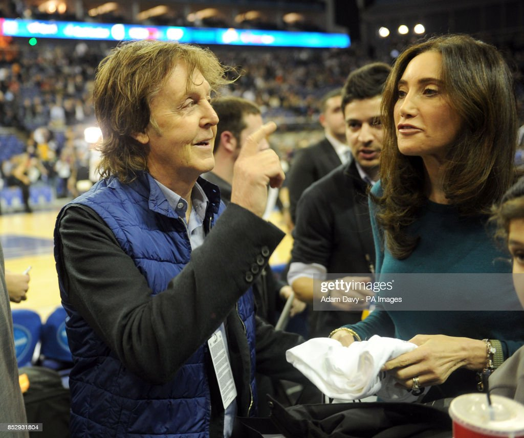 Sir Paul McCartney And Wife Nancy Shevell During The NBA Global Games London 2014 Match At