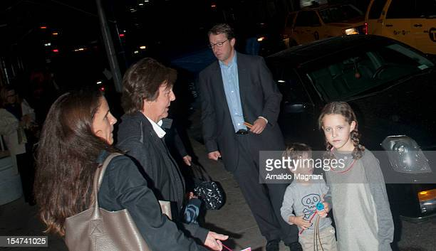Sir Paul McCartney and wife Nancy Shevell with daughter Beatrice are sighted leaving a birthday party at Serafina restaurant on October 24 2012 in...
