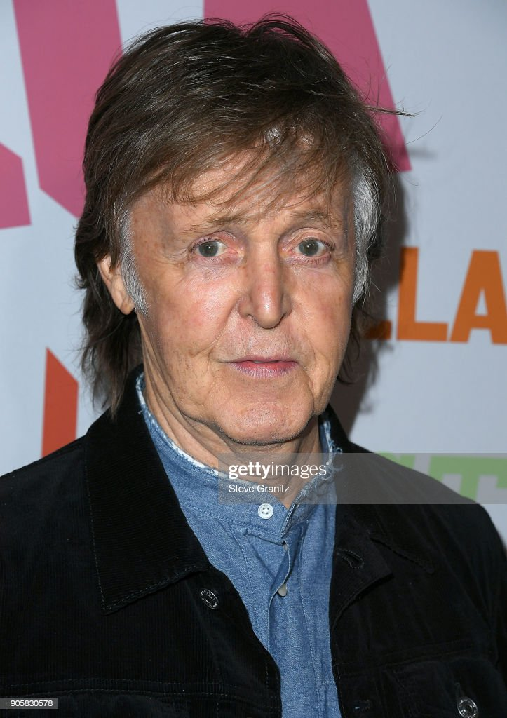 Sir Paul McCartney arrives at the Stella McCartney's Autumn 2018 Collection Launch on January 16, 2018 in Los Angeles, California.