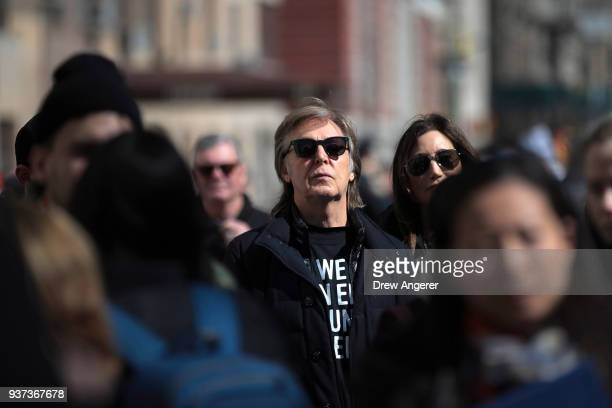Sir Paul McCartney attends the March For Our Lives just north of Columbus Circle March 24 2018 in New York City Thousands of demonstrators including...