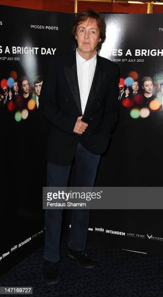 Sir Paul McCartney attends the UK premiere of 'Comes A Bright Day' at The Curzon Mayfair on June 26, 2012 in London, England.