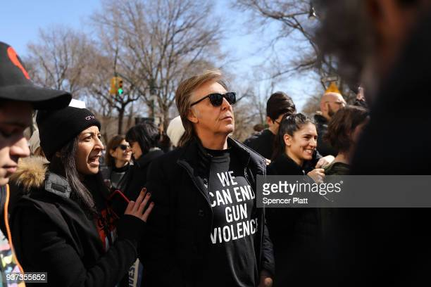 Sir Paul McCartney joins thousands of people many of them students march against gun violence in Manhattan during the March for Our Lives rally on...