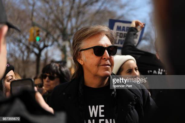Sir Paul McCartney joins thousands of people, many of them students, march against gun violence in Manhattan during the March for Our Lives rally on...