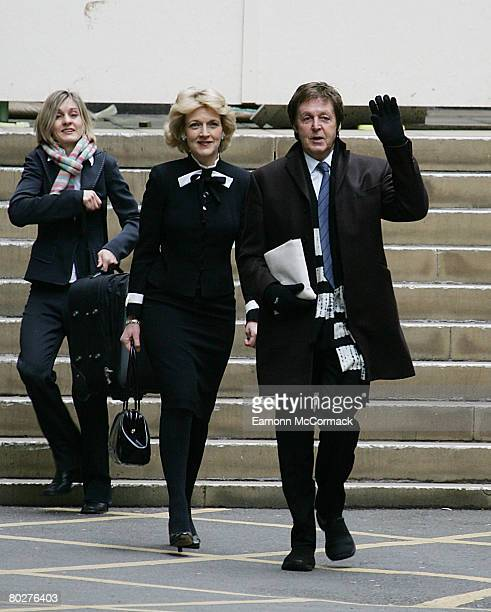 Sir Paul McCartney leaves with his lawyer Fiona Shackleton after hearing the Divorce Judgement at the Royal Courts of Justice on March 17 2008 in...