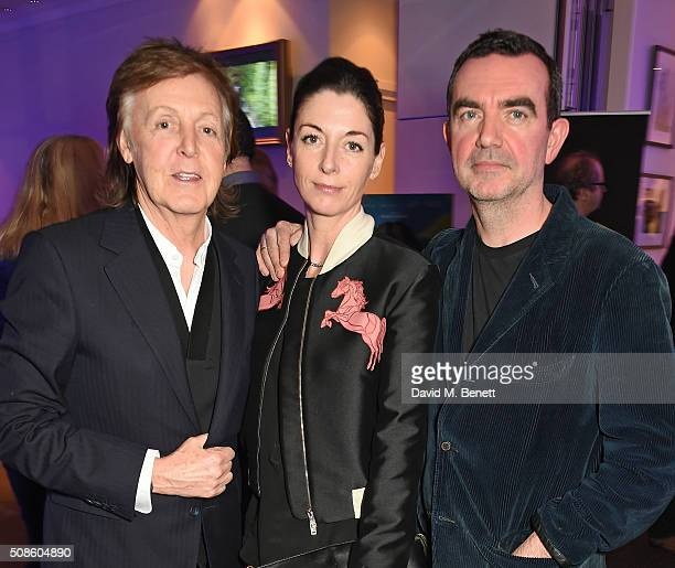 Sir Paul McCartney Mary McCartney and Simon Aboud attend a cast and crew screening of 'This Beautiful Fantastic' at BAFTA on February 5 2016 in...
