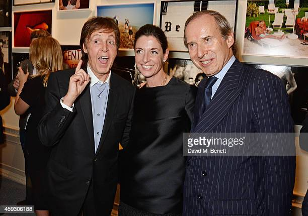 Sir Paul McCartney Mary McCartney and Simon de Pury attend the book launch and private view of 'Mary McCartney Monochrome And Colour' curated by De...
