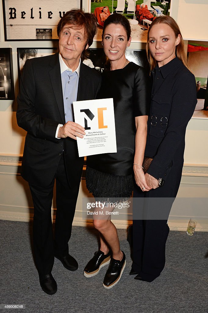 Sir Paul McCartney, Mary McCartney and Stella McCartney attend the book launch and private view of 'Mary McCartney: Monochrome And Colour' curated by De Pury De Pury on November 20, 2014 in London, England.