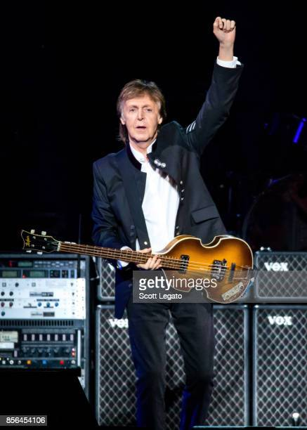 Sir Paul McCartney performs during his One on One Tour at Little Caesars Arena on October 1 2017 in Detroit Michigan