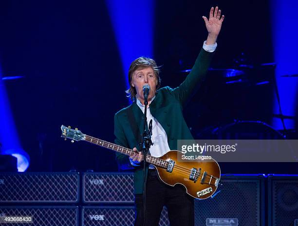 Sir Paul McCartney performs during the US 'Out There' tour at Joe Louis Arena on October 21 2015 in Detroit Michigan