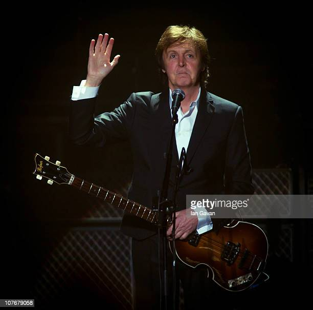 Sir Paul McCartney performs live at at the Hammersmith Apollo on December 18 2010 in London England