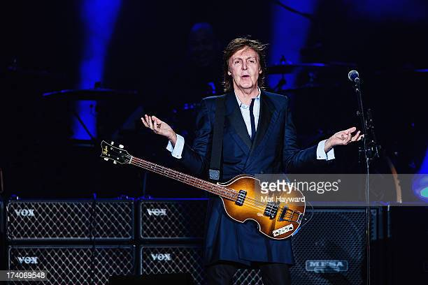 Sir Paul McCartney performs on stage at Safeco Field on July 19 2013 in Seattle Washington