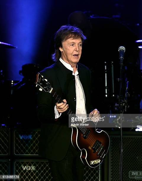Sir Paul McCartney performs onstage during Desert Trip at the Empire Polo Field on October 8 2016 in Indio California