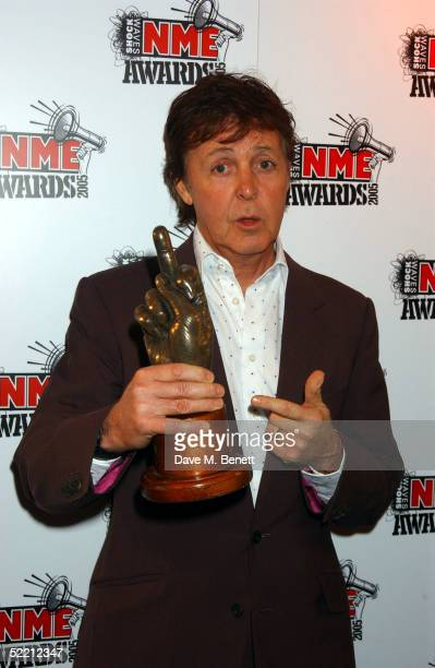 Sir Paul McCartney poses in the Awards Room at The Shockwaves NME Awards 2005 at Hammersmith Palais on February 17 2005 in London The annual music...