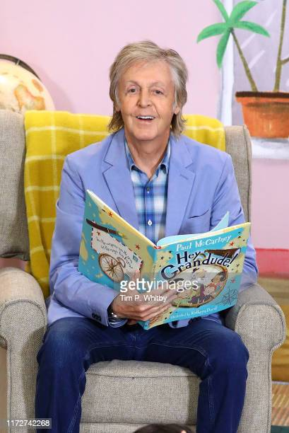 "Sir Paul McCartney reads to children at the ""Hey Grandude!"" book signing at Waterstones Piccadilly on September 06, 2019 in London, England."