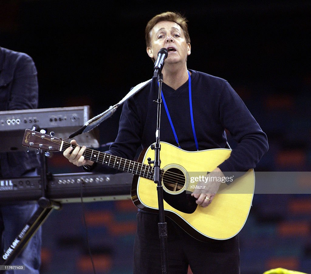 Sir Paul McCartney Rehearses For His Part In The Super Bowl XXXVI Pre Game Show