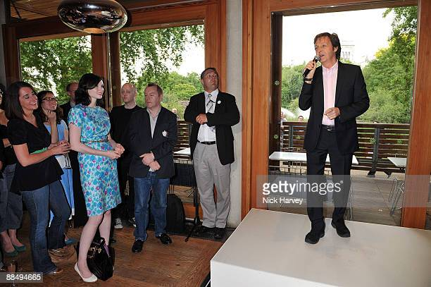 Sir Paul McCartney speaks to his guests as The McCartney Family Launches �Meat Free Monday' at Inn The Park on June 15, 2009 in London, England.