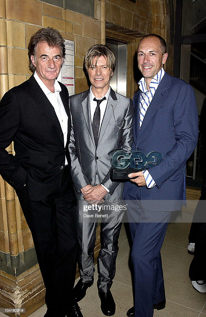 Sir Paul Smith, David Bowie & Gq Editor Dylan Jones, Gq Men Of The Year Awards, At The Natural History Museum In London.