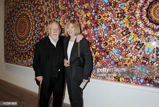 Sir Peter Blake and Chrissy Blake attend a private view of the Damien Hirst retrospective exhibition at the Tate Modern on April 3 2012 in London...