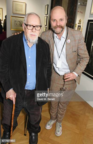 Sir Peter Blake and Gavin Turk attend a private view of the London Original Print Fair at The Royal Academy of Arts on May 3 2017 in London England