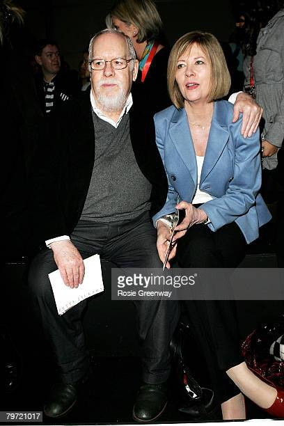 Sir Peter Blake and his guest watch the Betty Jackson show from front row at the BFC tent during London Fashion Week Autumn/Winter 2008 on February...