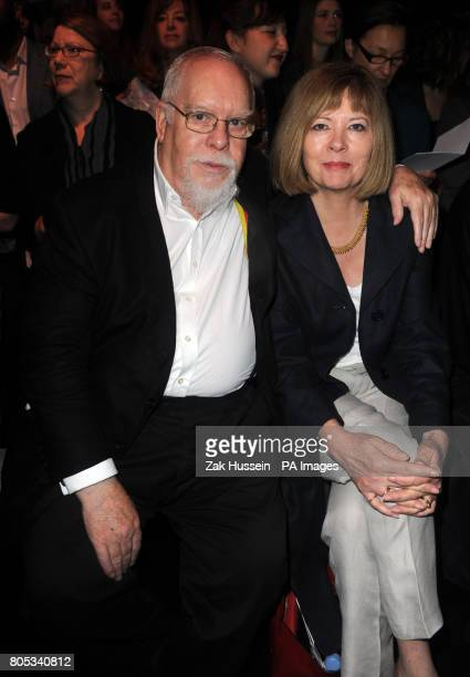 Sir Peter Blake and his wife Chrissy on the front row at the Betty Jackson catwalk show during the 25th London Fashion Week at Somerset House central...
