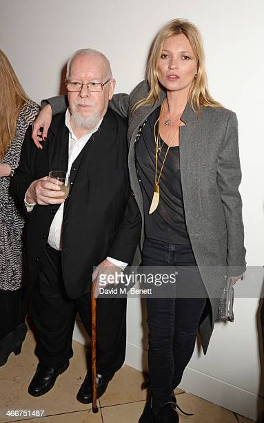 Sir Peter Blake and Kate Moss attend a private view of Bailey's Stardust a exhibition of images by David Bailey supported by Hugo Boss at the...