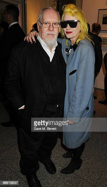 Sir Peter Blake and Pam Hogg attend the Art Plus Music Party at the Whitechapel Gallery on April 22 2010 in London England