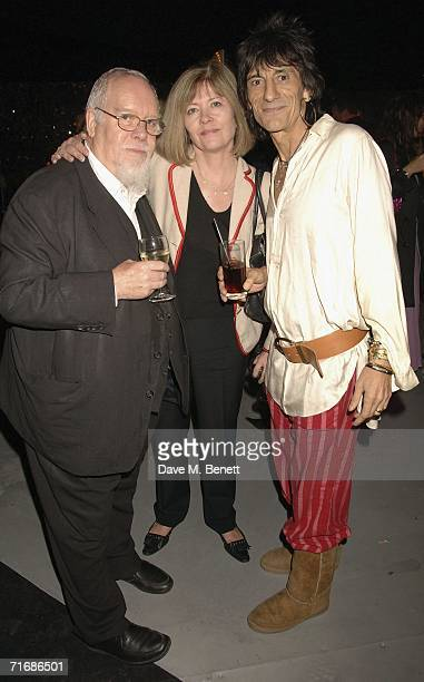 Sir Peter Blake Lady Blake and musician Ronnie Wood attend the Rolling Stones after show party at Wood's home on August 20 in Kingston England