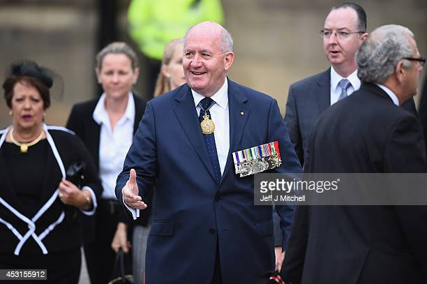Sir Peter Cosgrove Governor General of Australia attends Glasgow Cathedral for a memorial service to mark the centenary of the outbreak of World War...