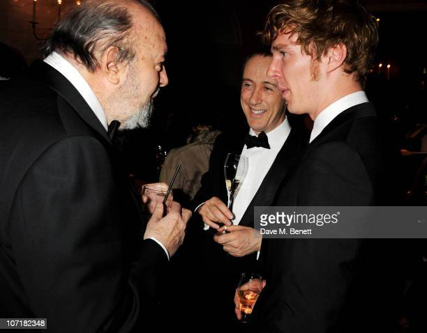 Sir Peter Hall director Nicholas Hytner and actor Benedict Cumberbatch attend the London Evening Standard Theatre Awards at The Savoy Hotel on...