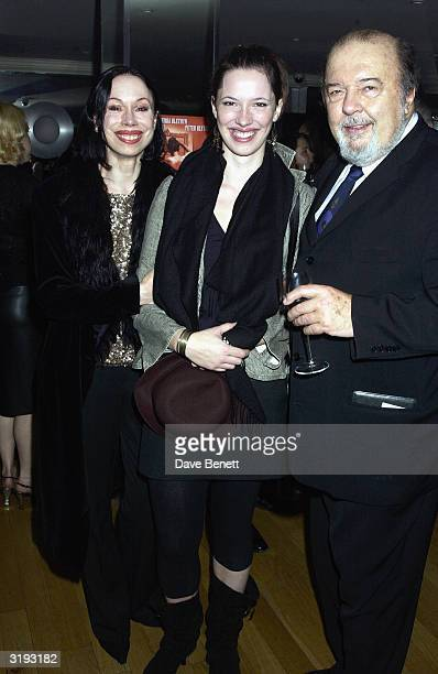 Sir Peter Hall with his ex wife Maria Ewing and their daughter Rebecca Hall attend the first night afterparty for 'Mrs Warrens Profession' on October...